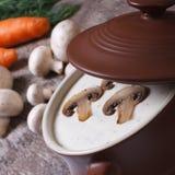 Cream суп с champignons и овощами Стоковая Фотография RF