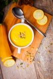 Cream суп тыквы служил с зажаренными в духовке семенами и гренками на деревянной предпосылке оливка масла кухни еды принципиально Стоковые Фото