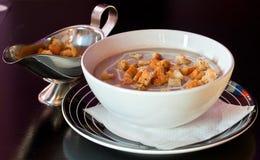 cream суп croutons Стоковое Фото