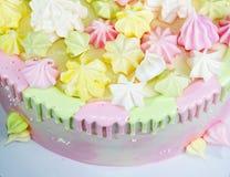 Cream чизкейк с извивом шоколада и ярким оформлением merengue Стоковая Фотография
