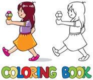 cream льдед девушки иллюстрация графика расцветки книги цветастая Стоковое Изображение RF
