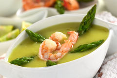 Cream of Asparagus with Shrimp Stock Photography