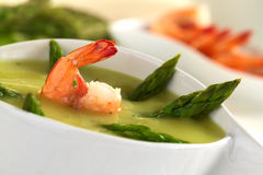 Cream of Asparagus with Shrimp Royalty Free Stock Photos