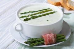 Cream of asparagus soup close-up horizontal Royalty Free Stock Photos
