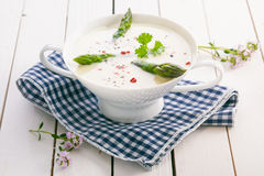 Cream of asparagus soup Stock Photography
