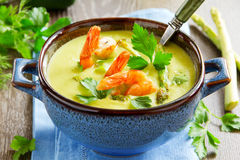 Cream of asparagus soup Royalty Free Stock Images