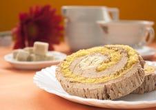 Cream and banana sponge roll Stock Image