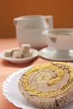 Cream and banana sponge roll Stock Photography