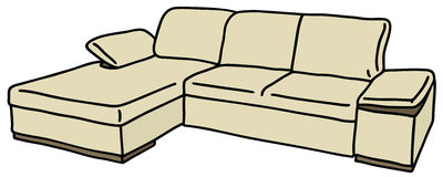 Cream big couch Royalty Free Stock Photos