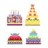 Cream birthday cake pie vector. Royalty Free Stock Photography