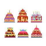 Cream birthday cake pie vector. Stock Image