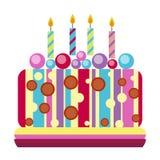Cream birthday cake pie vector. Royalty Free Stock Photos