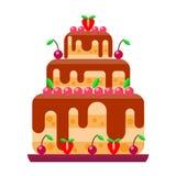 Cream birthday cake pie vector. Stock Photo