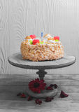 Cream biscuit cake with roses Royalty Free Stock Photo