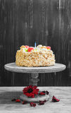 Cream biscuit cake with roses Stock Photo