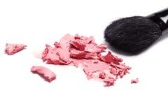Cream blush with makeup brush Stock Photo