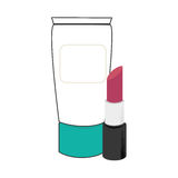 Cream bottle and lipstick beauty products. Vector illustration Stock Image