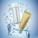 Cream bottle mock up in water splash on blue background. Royalty Free Stock Photo