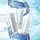 Cream bottle mock up in water splash on blue bokeh background. 3D illustration Royalty Free Stock Photography