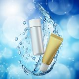 Cream bottle mock up in water splash on blue bokeh background. Royalty Free Stock Image