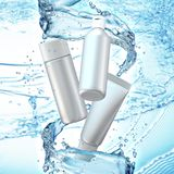 Cream bottle mock up in water splash on blue bokeh background. 3D illustration Stock Photography