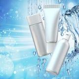Cream bottle mock up in water splash on blue bokeh background. 3D illustration Royalty Free Stock Photos