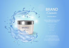 Cream box on a blue background of water with a splash. Premium ads, skin moisturizer, hydrating mask . Stock vector illustration Stock Photos