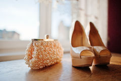 Cream bridal shoes Royalty Free Stock Photo