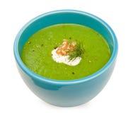 Cream of Broccoli in blue bowl Stock Photo