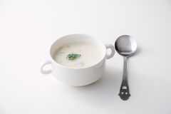 Cream of Broccoli Mushroom Soup. Isolated Royalty Free Stock Photography