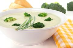 Cream of broccoli soup Stock Photo