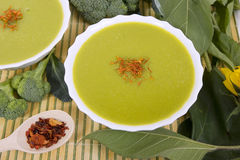 Cream of broccoli soup (broccoli green fresh soup) Royalty Free Stock Images