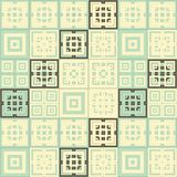 Cream brown and blue green square cube pattern background. Cream brown and blue green squares inside squares cube pattern background wallpaper Stock Photo