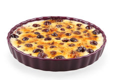 Cream brulee with cherries Stock Images