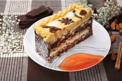 Cream Cake. Cake hazelnuts, almonds vanilla cream chocolate, and decoration Stock Images