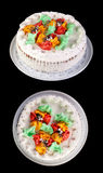 Cream cake. On black background. Two perspective Stock Photography