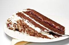 Cream cake - black forest gateau Stock Photos