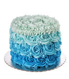 Cream cake with blue hues degrade. On white background. Royalty Free Stock Images