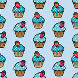 Cream cake blue seamless pattern Royalty Free Stock Photo
