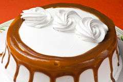 Cream cake with caramel Royalty Free Stock Photo