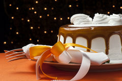 Cream cake with caramel Stock Image