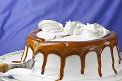 Cream cake with caramel Stock Images