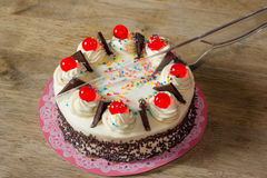 Cream cake on cutting  with plastic knife Royalty Free Stock Photography