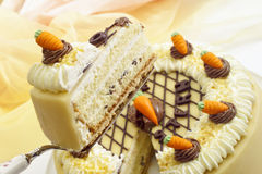 Cream cake, Easter cake, marzipan carrots Royalty Free Stock Image