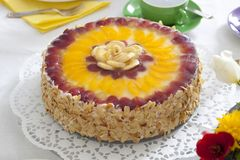 Cream cake with fruits Stock Photo