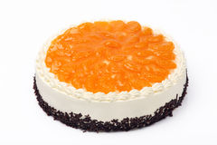 Cream cake with mandarins on white background Royalty Free Stock Image
