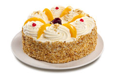 Cream Cake With Peaches Stock Photo