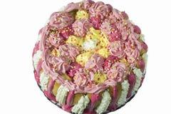 Cream cake. Pink, yellow and white cream. Stock Photo