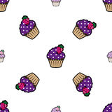 Cream cake purple seamless pattern Stock Image