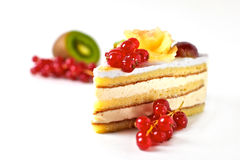 Cream cake with red currant Stock Photo